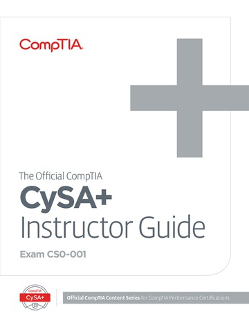 The Official CompTIA CySA+ Instructor Guide (Exam CS0-001)
