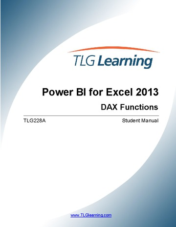 Introduction to DAX for Excel 2013 Users - Level 3 – Two (2) days