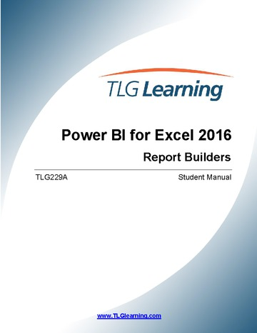 Data Analysis using Excel 2016 - Report Builder / Power BI Tools - Level 1 – Two (2) days