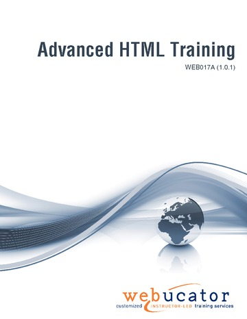 Advanced HTML Training